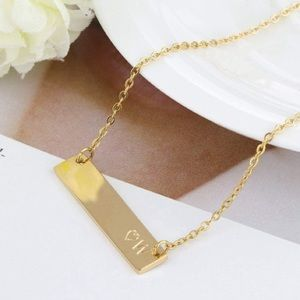 NEW 18K GOLD INITIAL & HEART BAR PENDANT NECKLACE